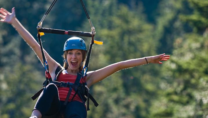Zipline Woman Happy Helmet Mountain Ziplines Forest