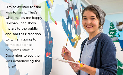 """I'm so excited for the kids to see it. That's what makes me happy is when I can show my art to the public and see their reaction to it.  I am going to come back once programs start in December to see the kids experiencing the mural."""