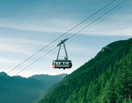 Travel to the top of Grouse Mountain by the Super Skyride.