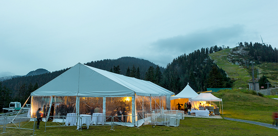 tenting for a venue space in the Grouse Mountain Plaza