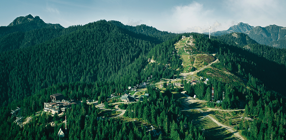Aerial view of Grouse Mountain in the summer