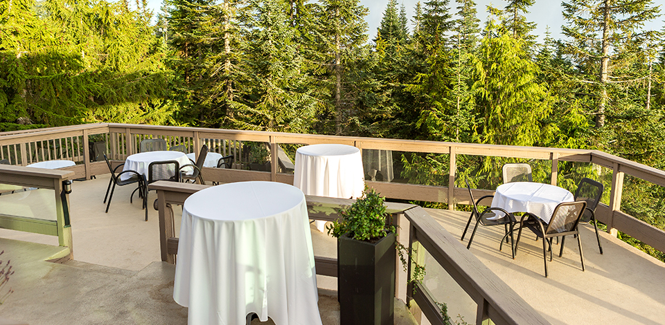 The Timber Room Deck as an event venue at Grouse Mountain