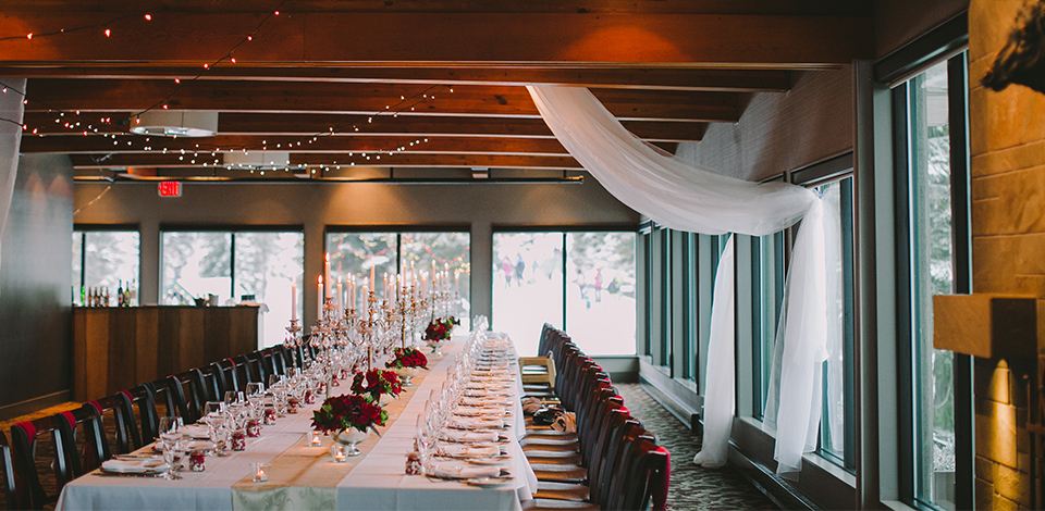 Timber Room decorated for a wedding