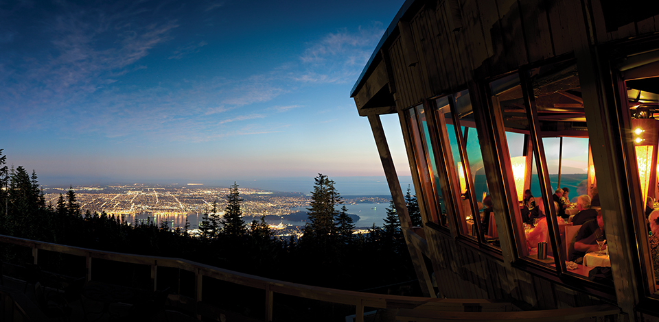 Observatory view at night overlooking Vancouver