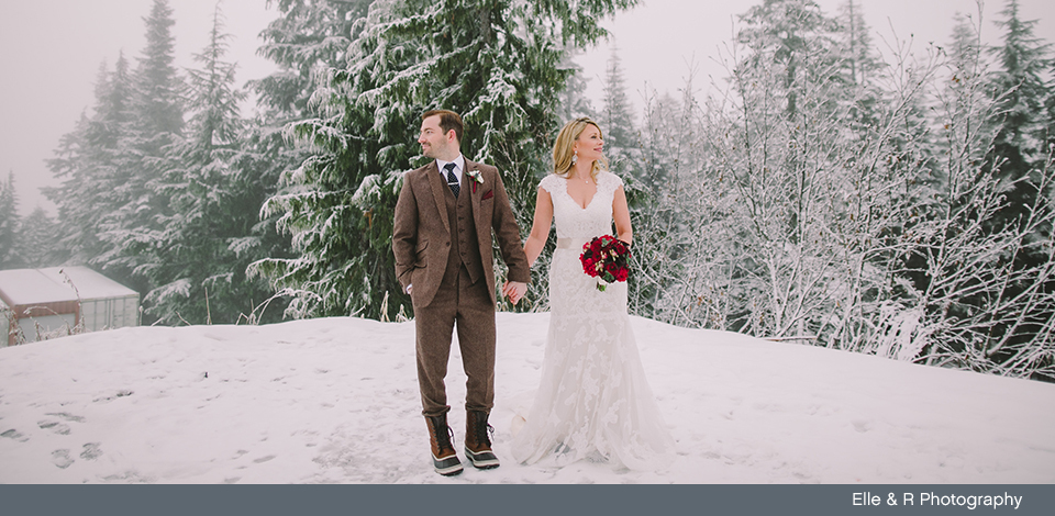 Couple married in the snow
