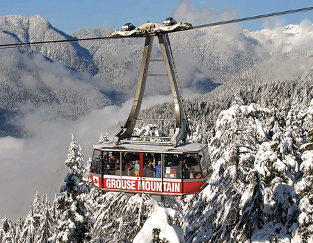 Grouse Mountain Super Skyride in the snow.