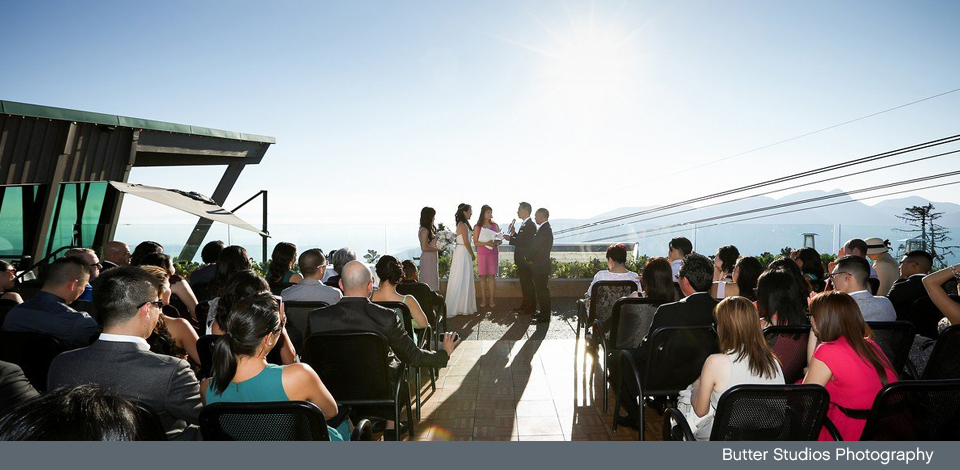 Wedding ceremony on Altitudes Deck in the summer