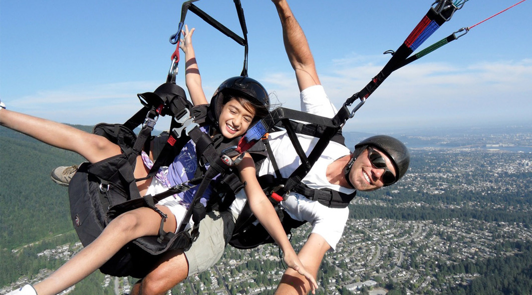 tandem paragliding at Grouse Mountain