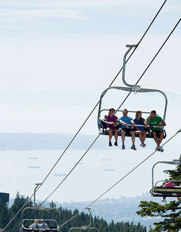 Experience scenic views on the Peak Chairlift this summer at Grouse Mountain.