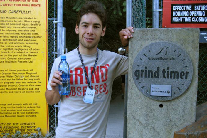 Sebastian Salas sets record breaking Grouse Grind time.