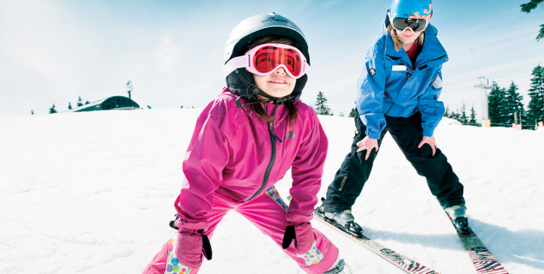 Private ski and snowboard lessons for your children at Grouse Mountain.