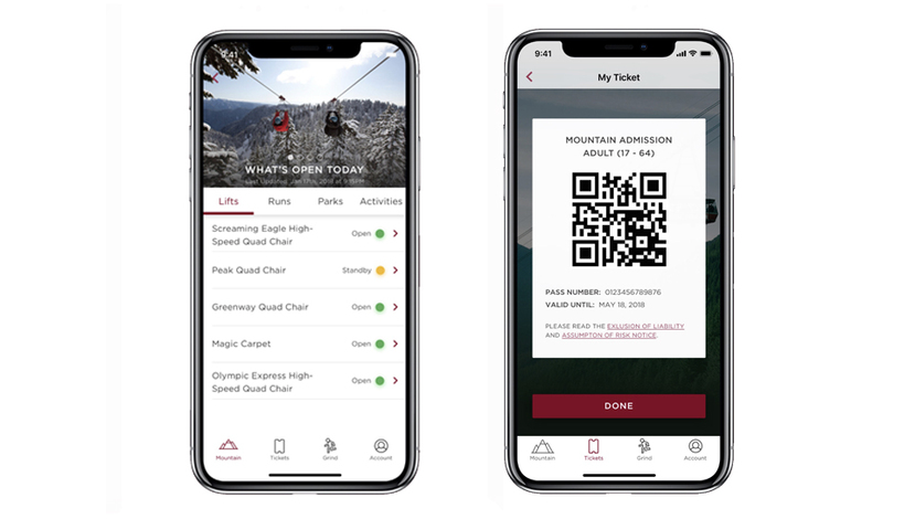 Grouse Mountain app showing features and screenshots