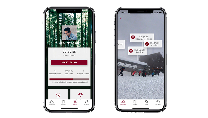 New Grouse Mountain App showing Grouse Grind features and AR