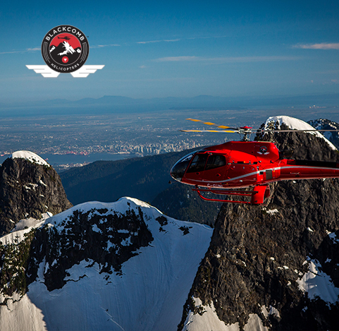Helicopter tour of Lions Peak from Grouse Mountain