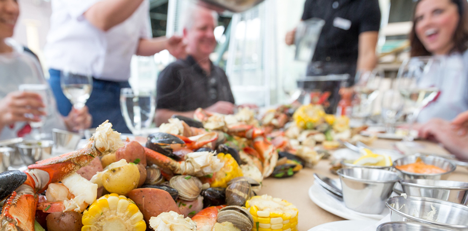Join us every Friday throughout the summer for our seafood boil on the SkyDeck